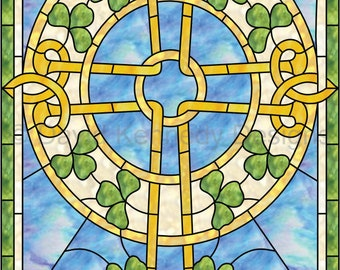 Celtic Cross Stained Glass Pattern. © David Kennedy Designs.