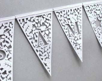 Personalised Bunting - Customised Bunting - Wedding Bunting - Papercut Bunting - Paper Bunting - Garland - Nursery Decoration - New Baby