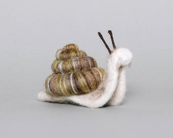 Snail - Needle Felted Snail - Snail Sculpture - Snail Ornament - Snail Artwork - Snail Collectable Sculpture - Made to Order