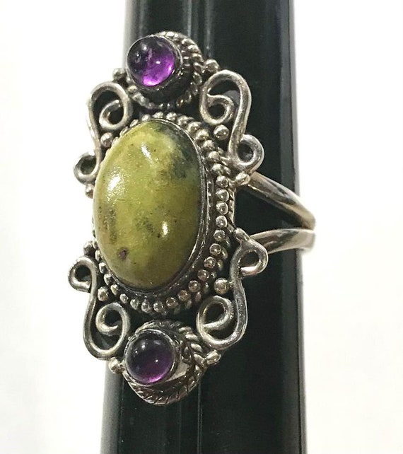 Sterling Silver Ruby Zoisite Ring Pendant and Ear… - image 6