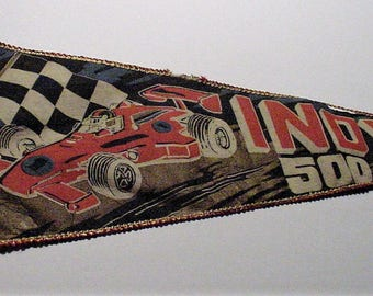 "1970's INDY 500 Japan Silk Pennant 26"" Indianapolis Speedway Race Car Checkered Flag Banner - Shipping is Free"
