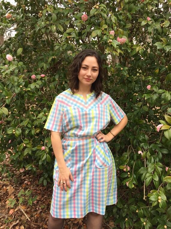 Pastel Plaid Dress Vintage Large Medium