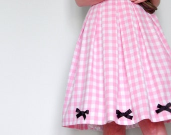 Custom made cotton pink gingham pleated full skirt