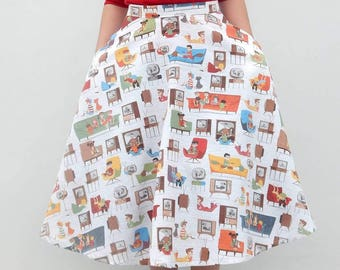 Retro living room print 50s style circle skirt, Vintage inspired custom made novelty print skirt