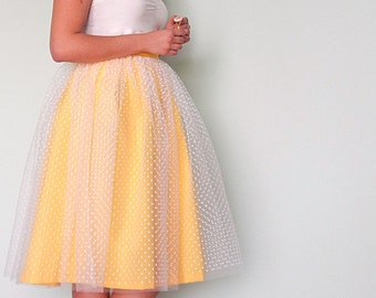 Custom made yellow tulle skirt with white polka dots