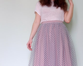 Custom made pink tulle skirt with black polka dots