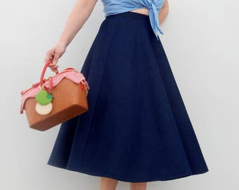 Denim 50s style circle skirt , Vintage 50s inspired custom made denim skirt all sizes and plus sizes