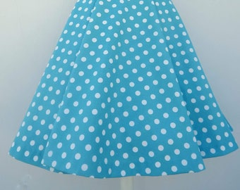 Teal blue polka dot 50s style circle skirt, Vintage 50s inspired custom made polka dot skirt
