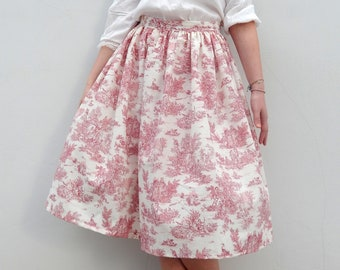 NEW Toile de jouy custom made gathered full skirt, made to order toile de jouy skirt all sizes and plus sizes