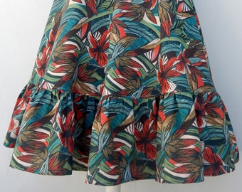 Custom made high waisted circle skirt with raffle hem and exotic floral print, all sizes and plus sizes