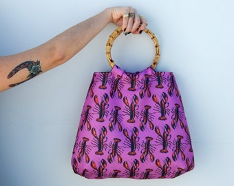 Lobster print bamboo handle bag