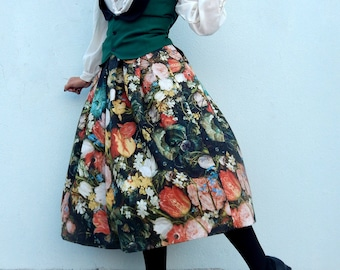 Custom made Rembrandt's flowers high waisted skirt, Vintage inspired floral skirt all sizes plus sizes
