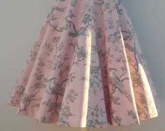 Custom made pink toile de jouy print circle skirt , made to order toil de jouy full skirt all sizes and plus sizes