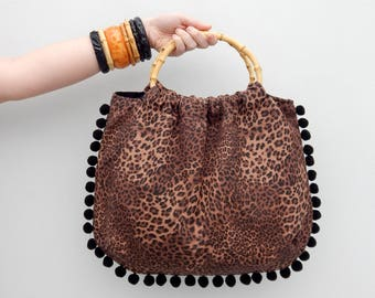 Custom made leopard print bamboo handle bag, Vintage inspired animal print handbag