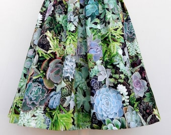Cactus garden 50s style pleated skirt, Vintage inspired custom made cactus print skirt