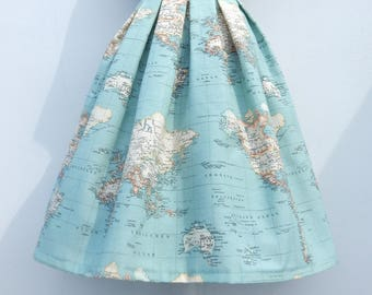World map skirt in blue, high waisted full skirt, all sizes and plus sizes