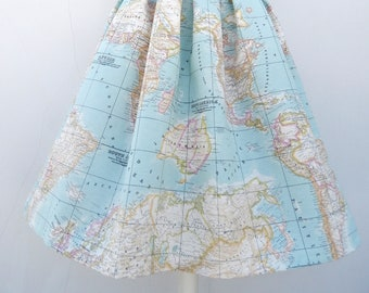 NEW World map skirt in blue, high waisted full skirt, all sizes and plus sizes