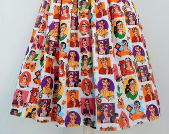Frida print high waisted 50s style gathered skirt, vintage inspired custom made Frida skirt all sizes and plus sizes
