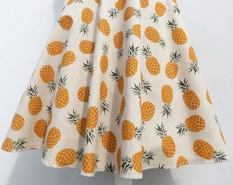 NEW!! Pineapples 50s style circle skirt, vintage 50s inspired custom made pineapples skirt, all sizes and plus sizes