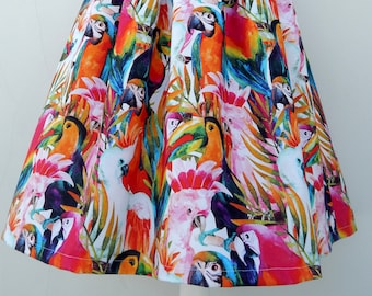 NEW!! Exotic parrots digitali print 50s style pleated skirt, Vintage 50s inspired custom made parrots skirt all sizes and plus sizes