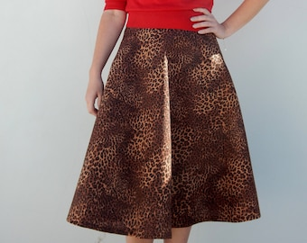 Custom made leopard print 50s style circle skirt, vintage inspired animal print full skirt, all sizes and plus sizes