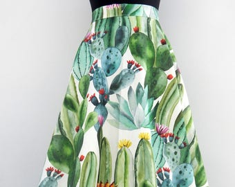 Blooming Cactus Maxi lenght circle skirt , Vintage inspired custom made cactus print skirt maxi lenght
