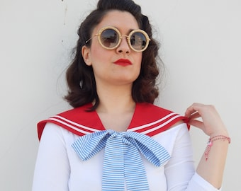 Detachable sailor collar in red, Handmade vintage style detachable sailor collar