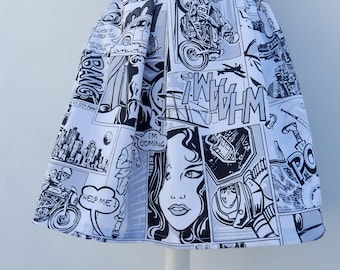 Comic print mini skirt in black and white, Custom made high waisted skirt, all sizes plus sizes
