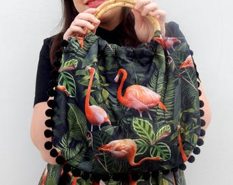 Exotic flamingos 50s style bamboo handle bag, vintage inspired flamingos print handbag