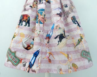 Vintage acrobats 50s style pleated skirt,vintage inspired circus acrobats skirt, all sizes and plus sizes