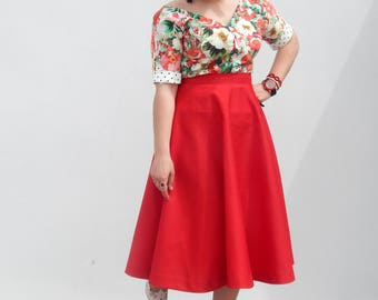 Red cotton gabardine 50s style circle skirt, all colors available circle skirt