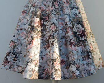 Rose garden 50s style circle skirt , Vintage 50s inspired custom made roses print skirt, all sizes and plus sizes