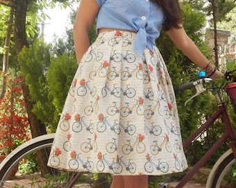 Retro style bicycle print pleated midi full skirt