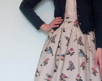 Custom made birds print full skirt, Made to order pleated skirt