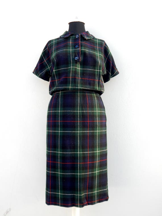 Vintage 50s 60s wool shirtwaist plaid dress with p