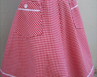 Vintage 1950s inspired gingham red full skirt.