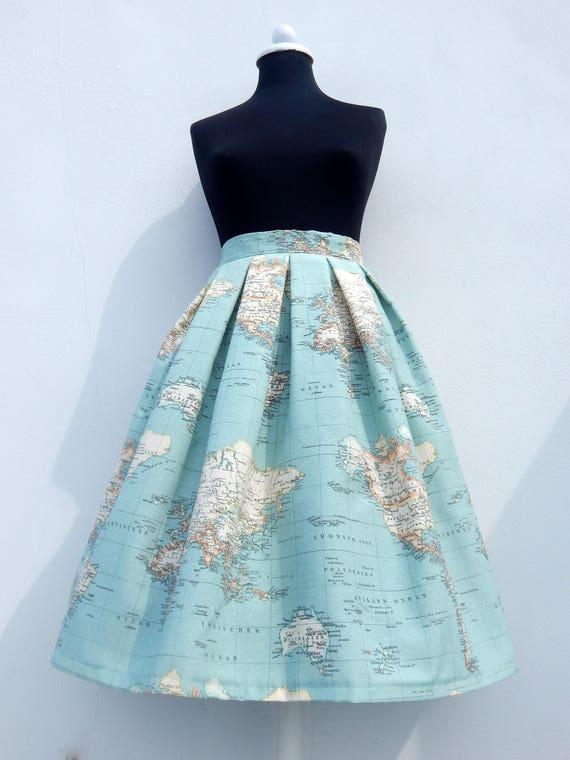 World Map Skirt In Blue High Waisted Full Skirt All Sizes Etsy