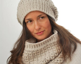 Ivory Slouch Hat and Cowl Set, Chunky Knit Cowl, Trendy Slouch Hat  - in stock