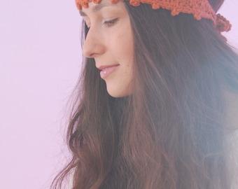 Pumpkin-colored knits, Chunky headband, orange wool headband, crochet ear warmer,  autumn colors headband