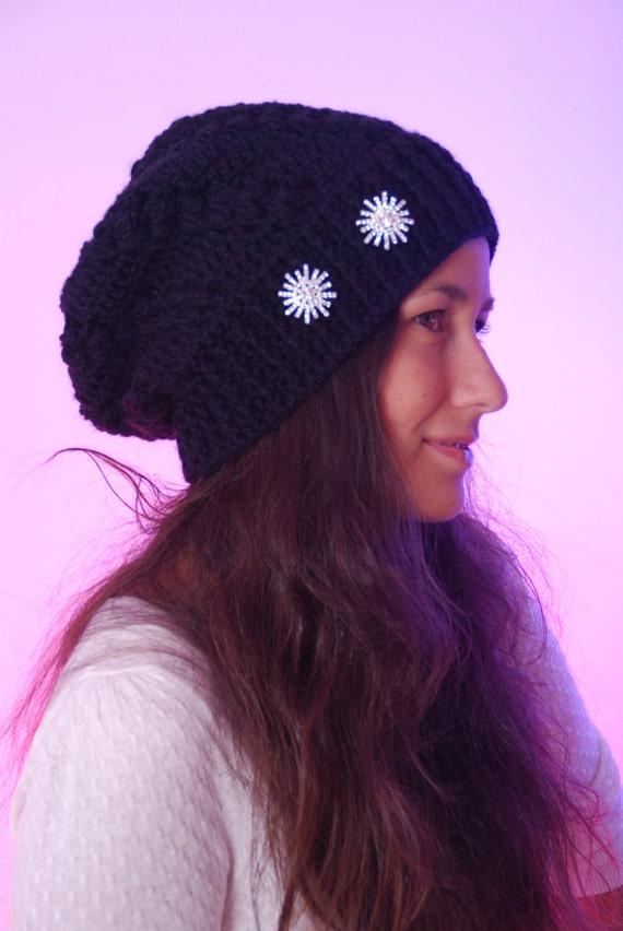 Black beanie hat chunky hat nice winter woman accessories  71b71df8e26a