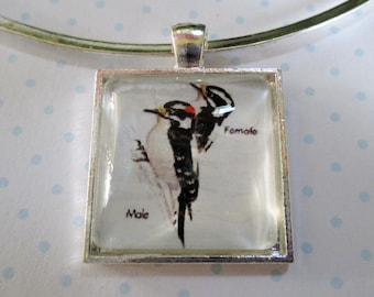 Woodpeckers Pendant or Scarf Slide, scarf jewelry, scarf ring