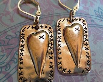 Homespun Hearts Silver Earrings