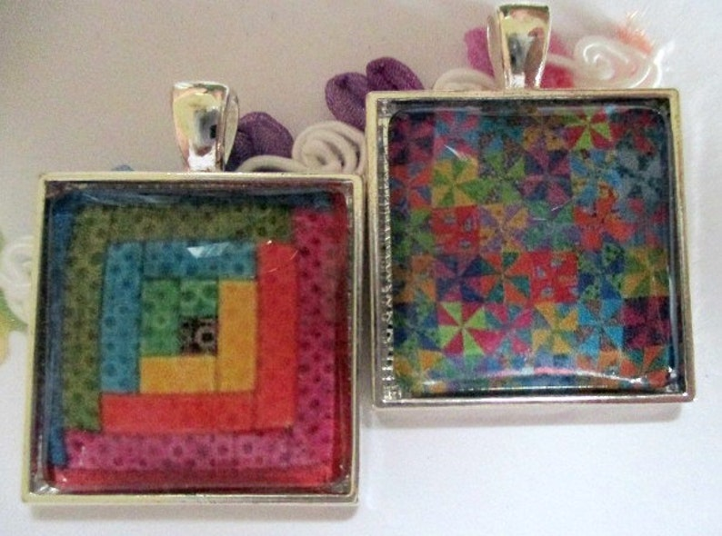 Colorful Quilt Patterns Silver Pendant or Scarf Ring, scarf jewelry, scarf  ring - one item