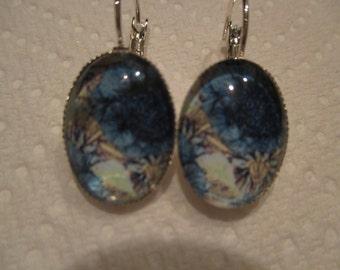 Blue Floral Oval Glass Earrings
