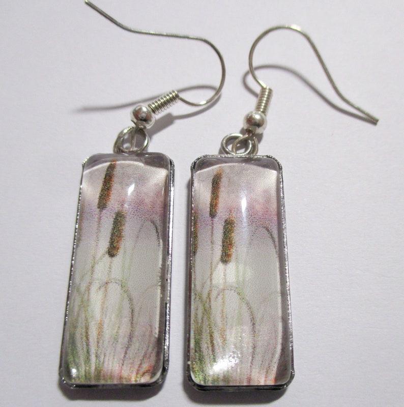 Cattails Glass Rectangle Earrings