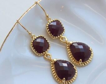 Gold Burgundy Maroon Wine Earrings - Marsala Gold Wedding, Marsala Earrings, Wedding Earrings, Marsala Jewelry, Gold Maroon Jewelry