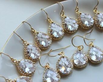 15% OFF SET of 7 Wedding Jewelry Bridesmaid Earrings Bridesmaid Jewelry - Crystal Earrings Gold Jewelry Clear CZ Teardrop Bridal Earrings