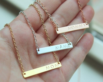 ANY WORDING Mama Necklace, Mama Jewelry, Mom Necklace Gift Mothers Day Gift , Mommy Necklace, Gold Bar Necklace, Bar Jewelry, Push Present