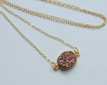 Rose Gold Druzy Necklace, Druzy Rose Gold, Pink Druzy, Christmas Gift Beauty Gift Necklace Statement Jewelry, Rose Gold Choker
