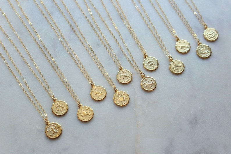 Celestial Jewelry Gold Zodiac Necklace Zodiac Coin Necklace image 0